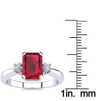 1ct Ruby and Diamond Ring Crafted In Solid 14K White Gold