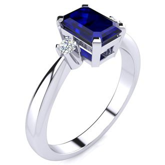 1ct Emerald Cut Sapphire and Diamond Ring Crafted In Solid 14K White Gold