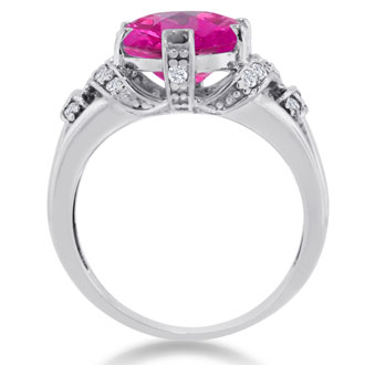 6ct Oval Created Pink Sapphire and Diamond Ring Crafted In Solid 14K White Gold