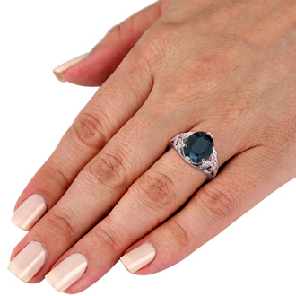 6ct Oval Sapphire and Diamond Ring Crafted In Solid 14K White Gold
