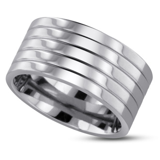 10 MM Polished Grooved Men's Titanium Ring Wedding Band