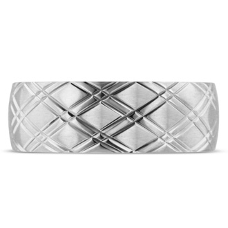 8 MM Brushed Argyle Design Men's Titanium Ring Wedding Band