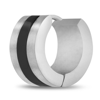 Men's 7 MM Polished Two Tone Black Stainless Steel Single Hoop Huggie Earring