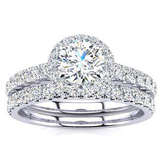 1 Carat Floating Pave Halo Diamond Bridal Set in 14k White Gold