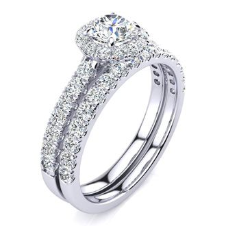 1 Carat Floating Pave Halo Diamond Bridal Set in 14k White Gold