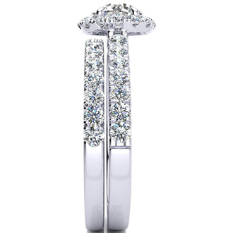 1 1/2 Carat Pave Halo Diamond Bridal Set in 14k White Gold