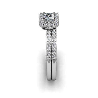 1/2 Carat Princess Cut Pave Halo Diamond Bridal Set in 14k White Gold
