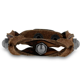 Men's Studded Braided Brown Leather Bracelet