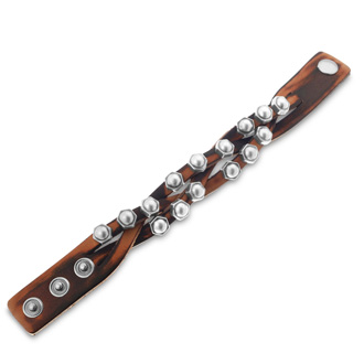 Men's Criss Cross Braided Studded Leather Bracelet, 3/4 Inches Wide