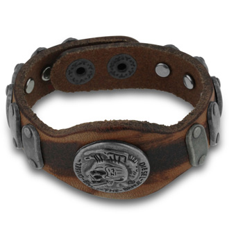 Antique Style Men's Skull Leather Bracelet