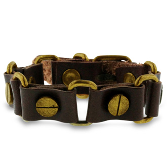Men's Flat Screw Brown Leather Bracelet With Belt-Buckle Clasp