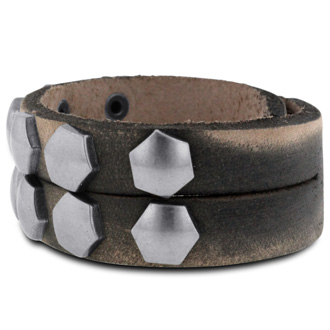 Men's Studded Double-Strand Leather Bracelet, 3/4 Inches Wide