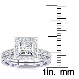 1 Carat Princess Cut Pave Halo Diamond Bridal Set in 14k White Gold