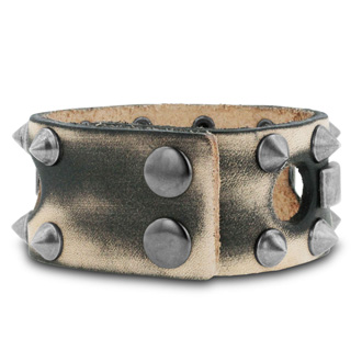Men's 1 Inch Wide Studded Leather Bracelet
