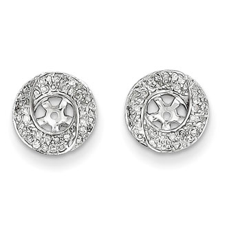 14K White Gold Pave Diamond Earring Jackets, Fits 1/3-1/2ct Stud Earrings