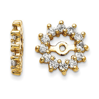 14K Yellow Gold Halo Sun Diamond Earring Jackets, Fits 3/4-1ct Stud Earrings