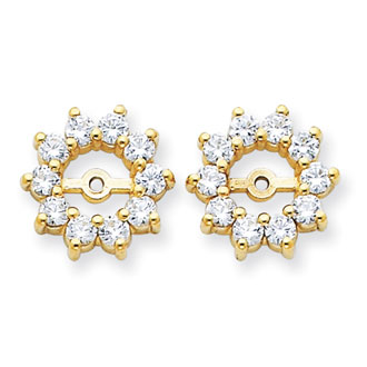 14K Yellow Gold Large Halo Sun Diamond Earring Jackets, Fits 1 1/3-1 1/2ct Stud Earrings