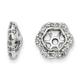 14K White Gold Floral Inspired Diamond Earring Jackets, Fits 1/3-1/2ct Stud Earrings