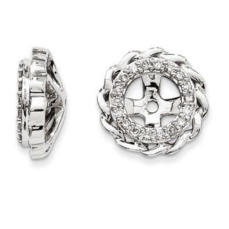 14K White Gold Modern Halo Diamond Earring Jackets, Fits 1 3/4-2ct Stud Earrings