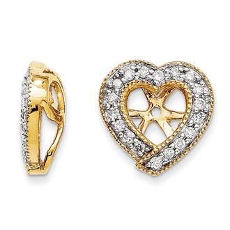 14K Yellow Gold Diamond Heart Earring Jackets, Fits 1/4-1/3ct Stud Earrings