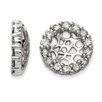 14K White Gold Classic Diamond Earring Jackets, Fits 2 3/4-3ct Stud Earrings
