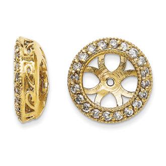 14K Yellow Gold Ornate Diamond Earring Jackets, Fits 3 3/4-4ct Stud Earrings