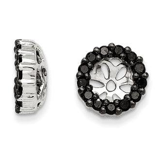 14K White Gold 4-Prong Black Diamond Earring Jackets, Fits 1/3-1/2ct Stud Earrings