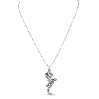 Men's Stainless Steel Lizard Pendant, 20 Inches