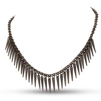 Dangling Gunmetal Spike Bib Necklace, 18 Inches