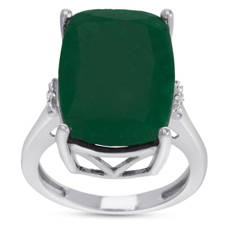 13ct Rectangular Cushion Cut Emerald and Diamond Ring Crafted In Solid Sterling Silver