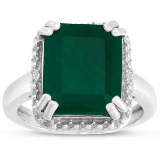 8ct Emerald Shape Emerald and Halo Diamond Ring Crafted In Solid Sterling Silver