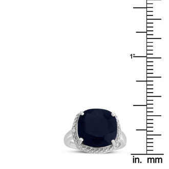 9ct Cushion Cut Sapphire and Halo Diamond Ring Crafted In Solid Sterling Silver