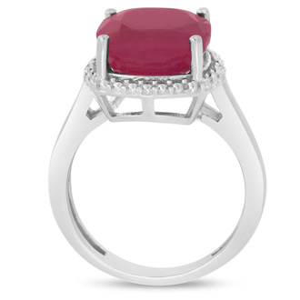 6ct Cushion Cut Ruby and Halo Diamond Ring Crafted In Solid Sterling Silver