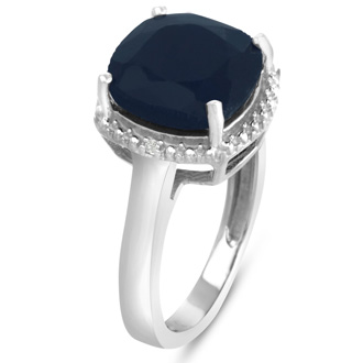 5 3/4ct Cushion Cut Sapphire and Halo Diamond Ring Crafted In Solid Sterling Silver