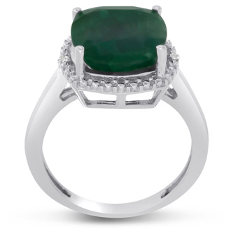5 3/4ct Cushion Cut Emerald and Halo Diamond Ring Crafted In Solid Sterling Silver