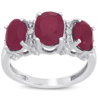 3 1/2ct Three Stone Oval Shape Ruby and Diamond Ring Crafted In Solid Sterling Silver