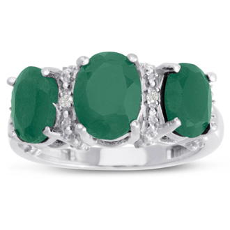 3 1/2ct Three Stone Oval Shape Emerald and Diamond Ring Crafted In Solid Sterling Silver