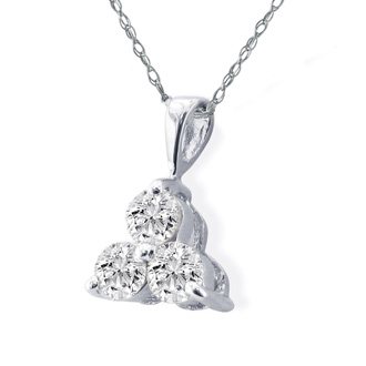 1/2ct Three Diamond Triangle Style Diamond Pendant In 14k White Gold