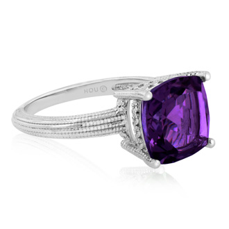 5ct Cushion Cut Amethyst Ring Crafted In Solid Sterling Silver