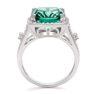 Sterling Silver 5ct Cushion Cut Halo Style Green Amethyst Ring