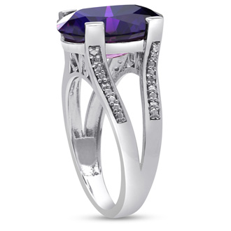 5 1/2ct Oval Shape Amethyst and Diamond Ring Crafted In Solid Sterling Silver