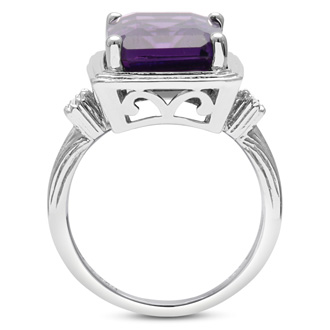 10ct Halo Amethyst and Diamond Ring Crafted In Solid Sterling Silver