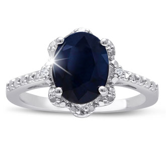 2ct Oval Shape Floral Halo Sapphire and Diamond Ring Crafted In Solid Sterling Silver