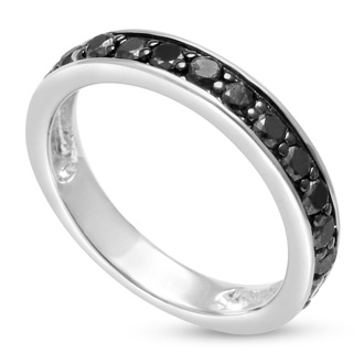 1/2ct Black Diamond Wedding Band Crafted In Solid Sterling Silver