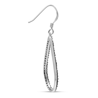 1/2ct Black Diamond Teardrop Dangle Earrings Crafted In Solid Sterling Silver
