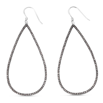1ct Black Diamond Teardrop Dangle Earrings Crafted In Solid Sterling Silver