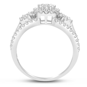 1ct Pave Three Stone Style Diamond Engagement Ring Crafted In Solid White Gold