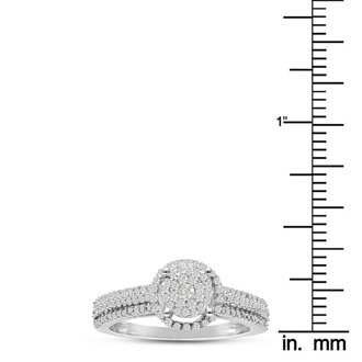 1/2ct Pave Halo Diamond Engagement Ring Crafted In Solid White Gold