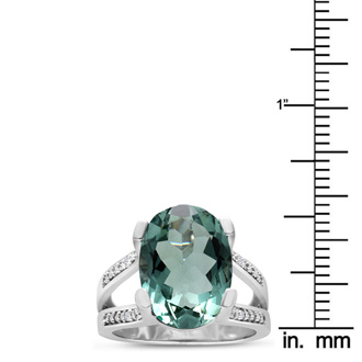 5 ½ Carat Oval Green Amethyst and Diamond Ring