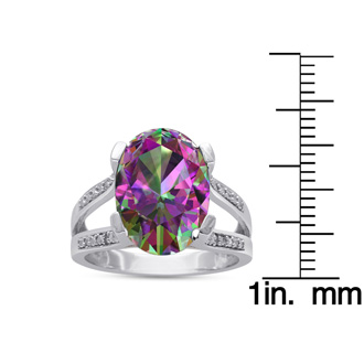 5 1/2 Carat Oval Mystic Topaz & Diamond Ring. Incredible, Beautiful Gemstone That You Will Just Adore!